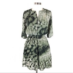 Guess Green TieDye Gathered Waist 3/4 Sleeve Dress
